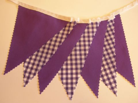BUNTING Plain Purple and Purple Gingham - 3m, 5m or 10m